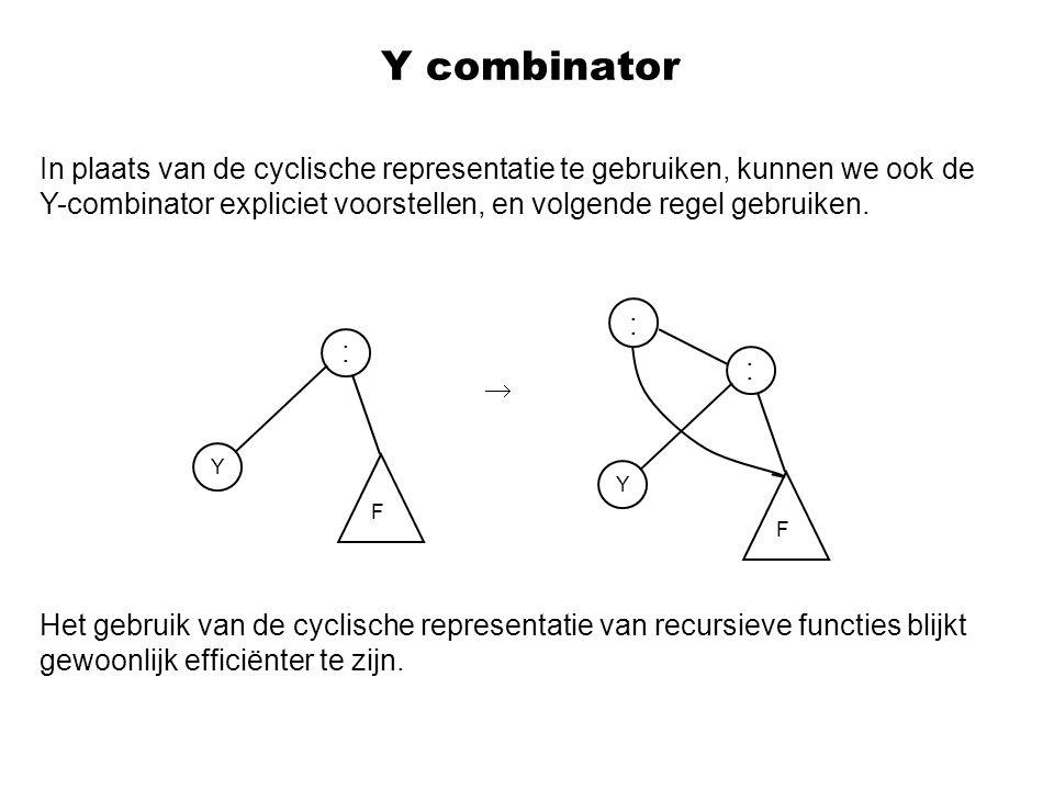 In plaats van de cyclische representatie te gebruiken, kunnen we ook de Y-combinator expliciet voorstellen, en volgende regel gebruiken.