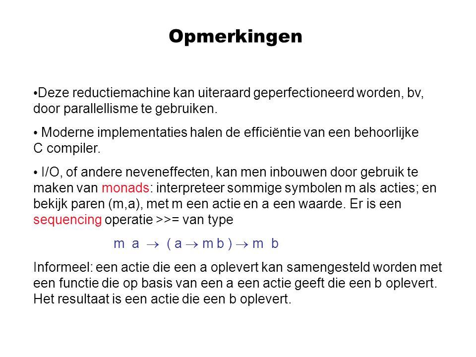 Opmerkingen Deze reductiemachine kan uiteraard geperfectioneerd worden, bv, door parallellisme te gebruiken.