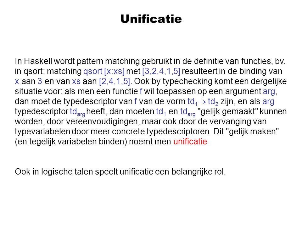Unificatie In Haskell wordt pattern matching gebruikt in de definitie van functies, bv.