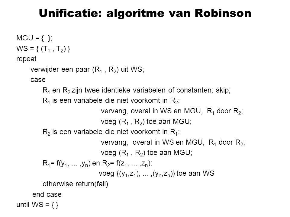 Unificatie: algoritme van Robinson MGU = { }; WS = { (T 1, T 2 ) } repeat verwijder een paar (R 1, R 2 ) uit WS; case R 1 en R 2 zijn twee identieke variabelen of constanten: skip; R 1 is een variabele die niet voorkomt in R 2 : vervang, overal in WS en MGU, R 1 door R 2 ; voeg (R 1, R 2 ) toe aan MGU; R 2 is een variabele die niet voorkomt in R 1 : vervang, overal in WS en MGU, R 1 door R 2 ; voeg (R 1, R 2 ) toe aan MGU; R 1 = f(y 1,...,y n ) en R 2 = f(z 1,...,z n ): voeg {(y 1,z 1 ),...,(y n,z n )} toe aan WS otherwise return(fail) end case until WS = { }