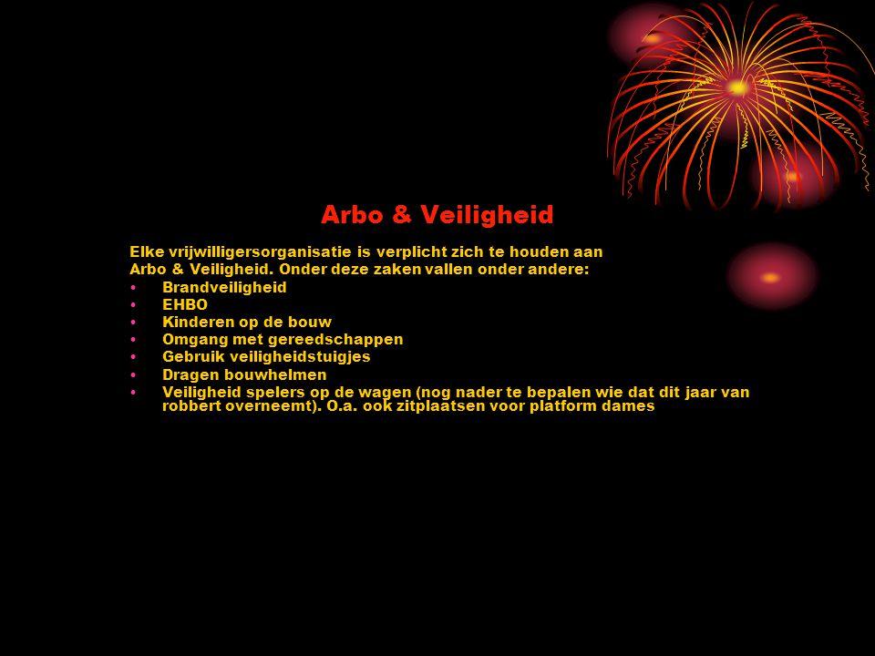 Arbo & Veiligheid Elke vrijwilligersorganisatie is verplicht zich te houden aan Arbo & Veiligheid. Onder deze zaken vallen onder andere: Brandveilighe