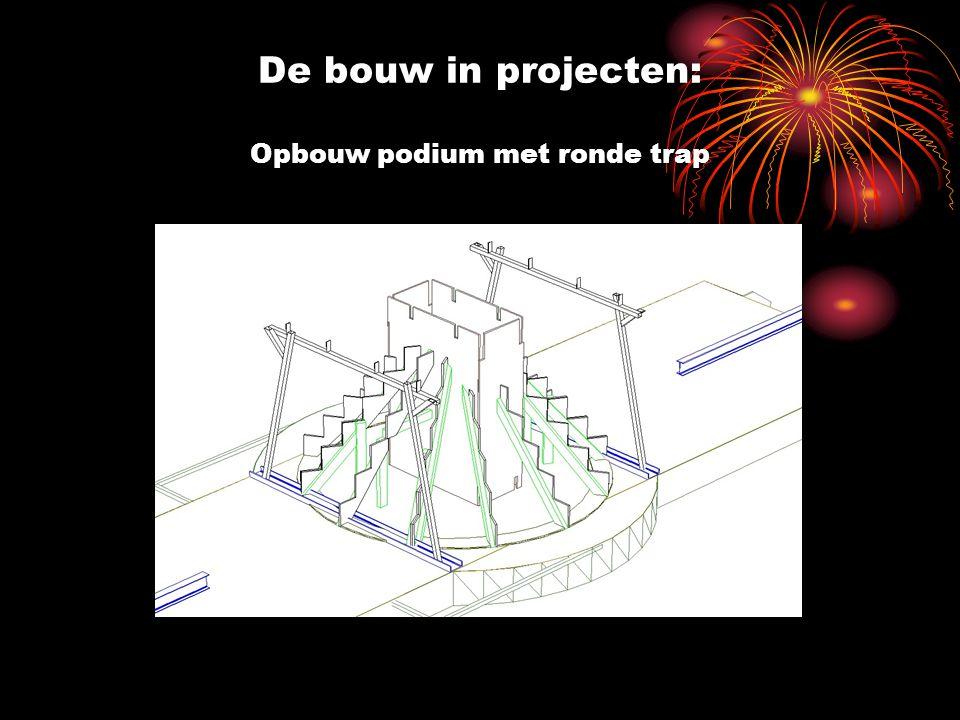 De bouw in projecten: Opbouw podium met ronde trap