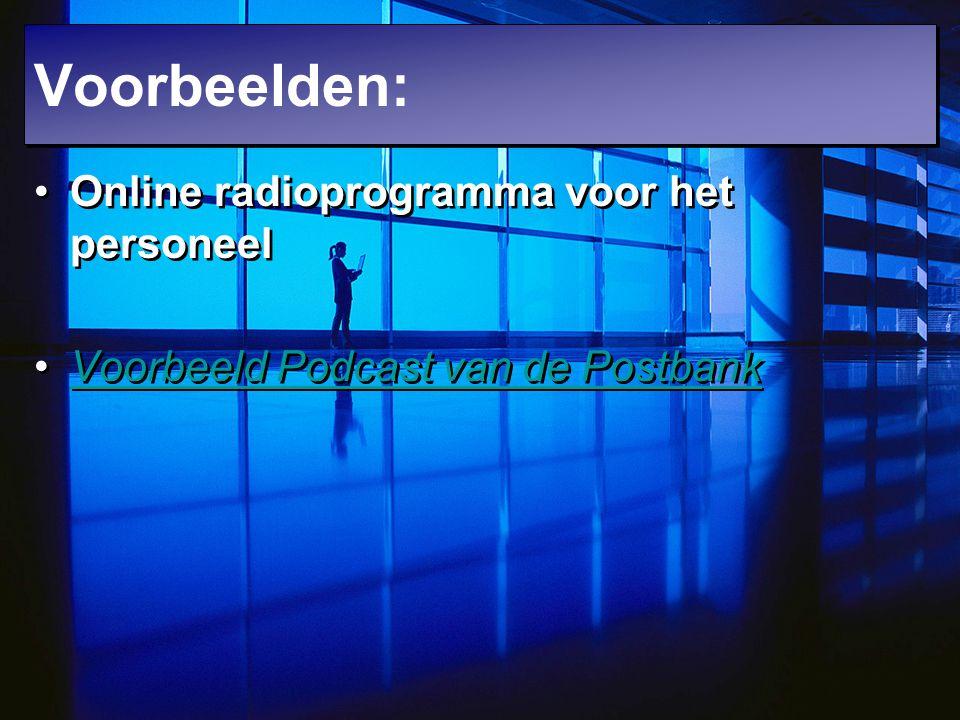 Online radioprogramma voor het personeel Voorbeeld Podcast van de Postbank Online radioprogramma voor het personeel Voorbeeld Podcast van de Postbank