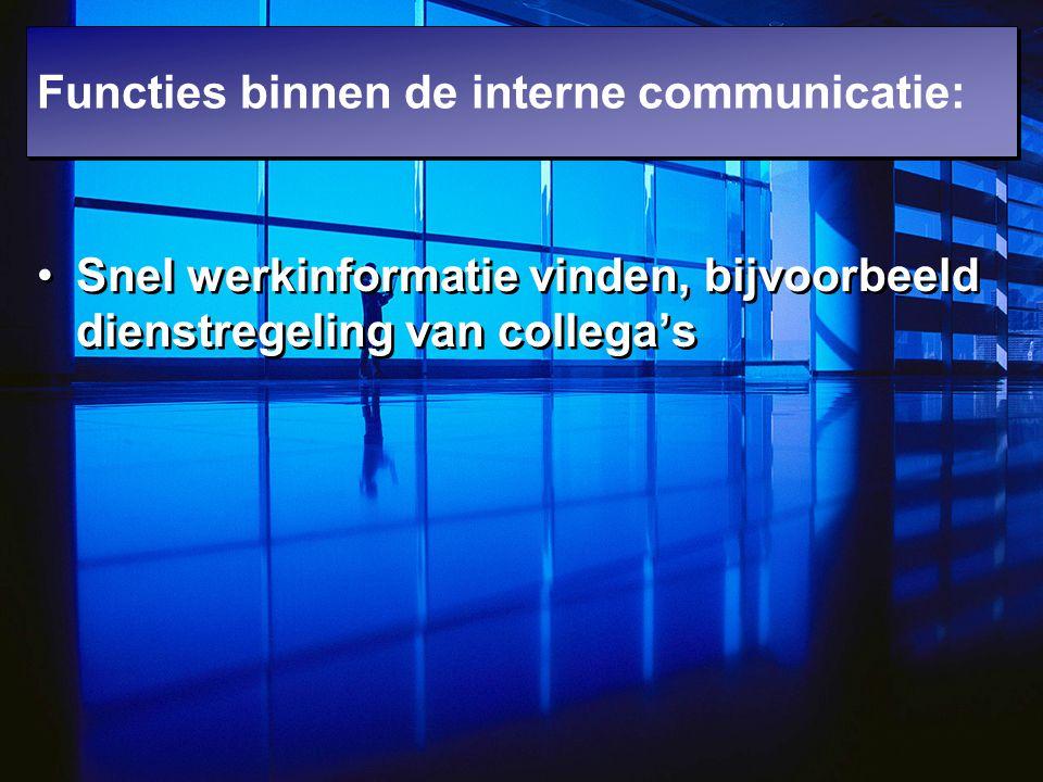 Snel werkinformatie vinden, bijvoorbeeld dienstregeling van collega's Functies binnen de interne communicatie: