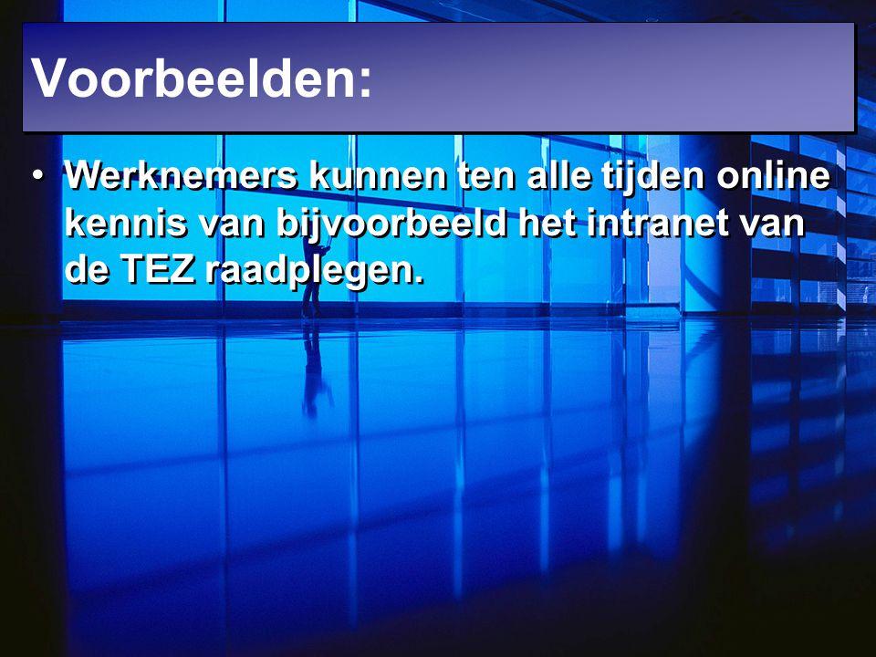 Werknemers kunnen ten alle tijden online kennis van bijvoorbeeld het intranet van de TEZ raadplegen. Voorbeelden:
