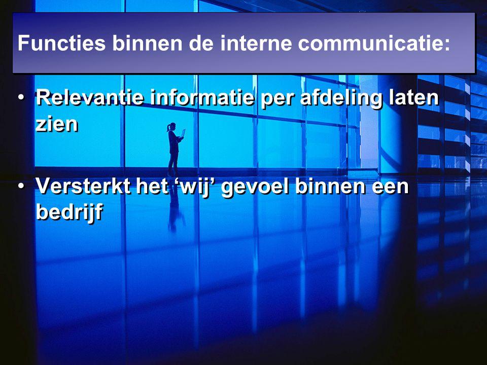 Relevantie informatie per afdeling laten zien Versterkt het 'wij' gevoel binnen een bedrijf Relevantie informatie per afdeling laten zien Versterkt he