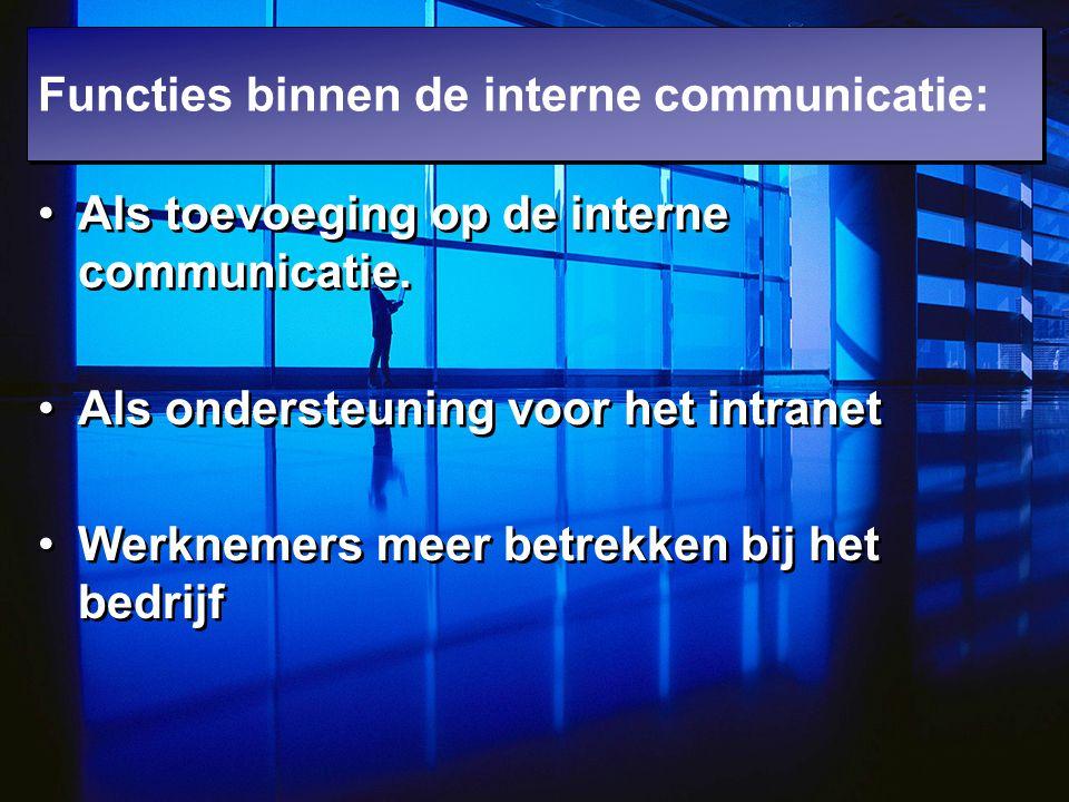 Als toevoeging op de interne communicatie. Als ondersteuning voor het intranet Werknemers meer betrekken bij het bedrijf Als toevoeging op de interne