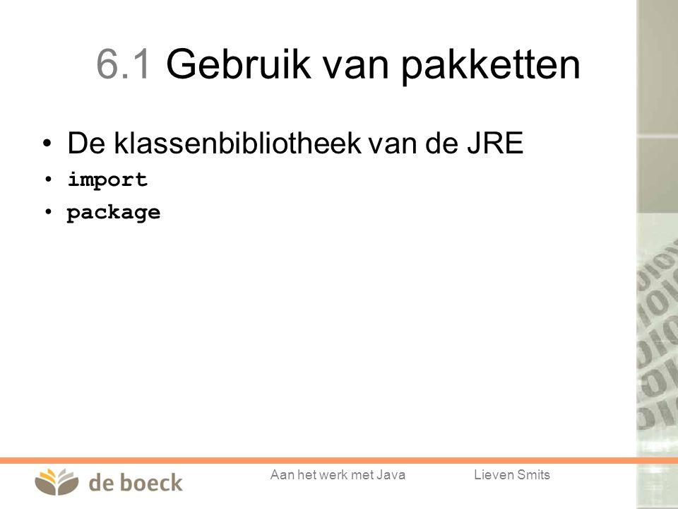 Aan het werk met JavaLieven Smits 6.1 Gebruik van pakketten De klassenbibliotheek van de JRE import package