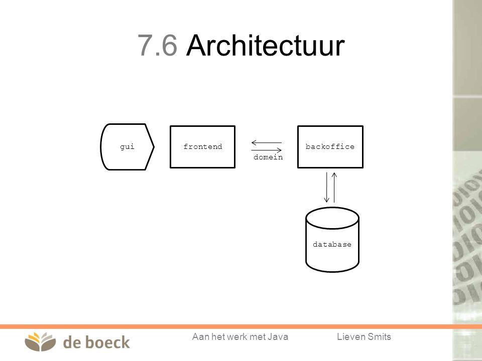 Aan het werk met JavaLieven Smits gui frontend database backoffice domein 7.6 Architectuur
