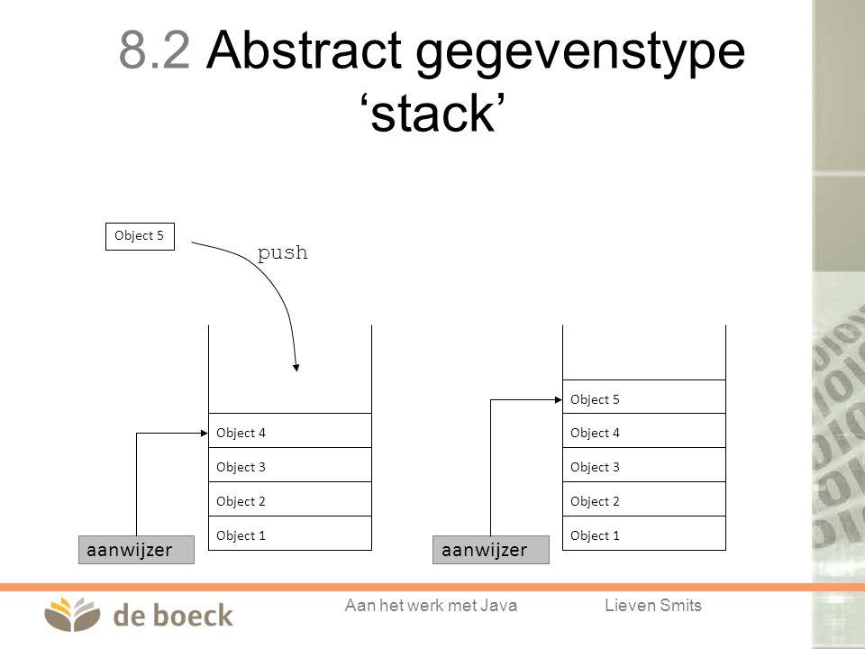 Aan het werk met JavaLieven Smits Object 2 Object 3 Object 4 Object 1 Object 5 Object 2 Object 3 Object 4 Object 1 Object 5 aanwijzer push 8.2 Abstract gegevenstype 'stack'