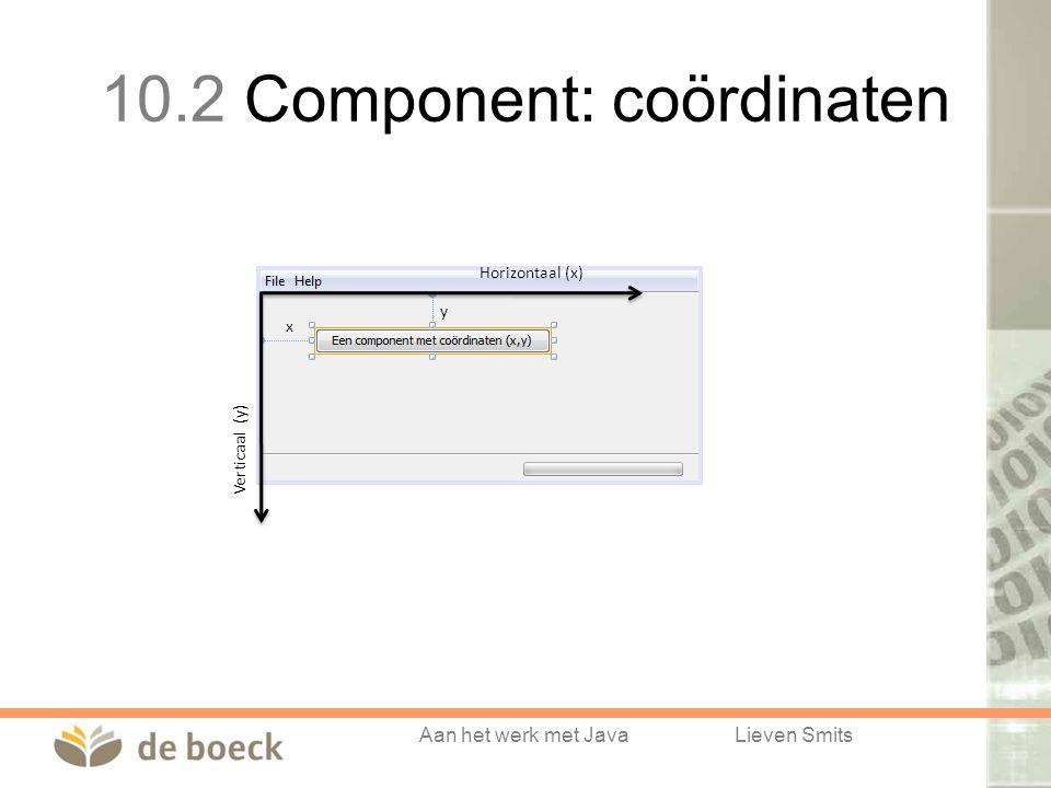 Aan het werk met JavaLieven Smits x y Horizontaal (x) Verticaal (y) 10.2 Component: coördinaten