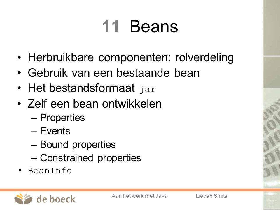 Aan het werk met JavaLieven Smits 11Beans Herbruikbare componenten: rolverdeling Gebruik van een bestaande bean Het bestandsformaat jar Zelf een bean ontwikkelen –Properties –Events –Bound properties –Constrained properties BeanInfo