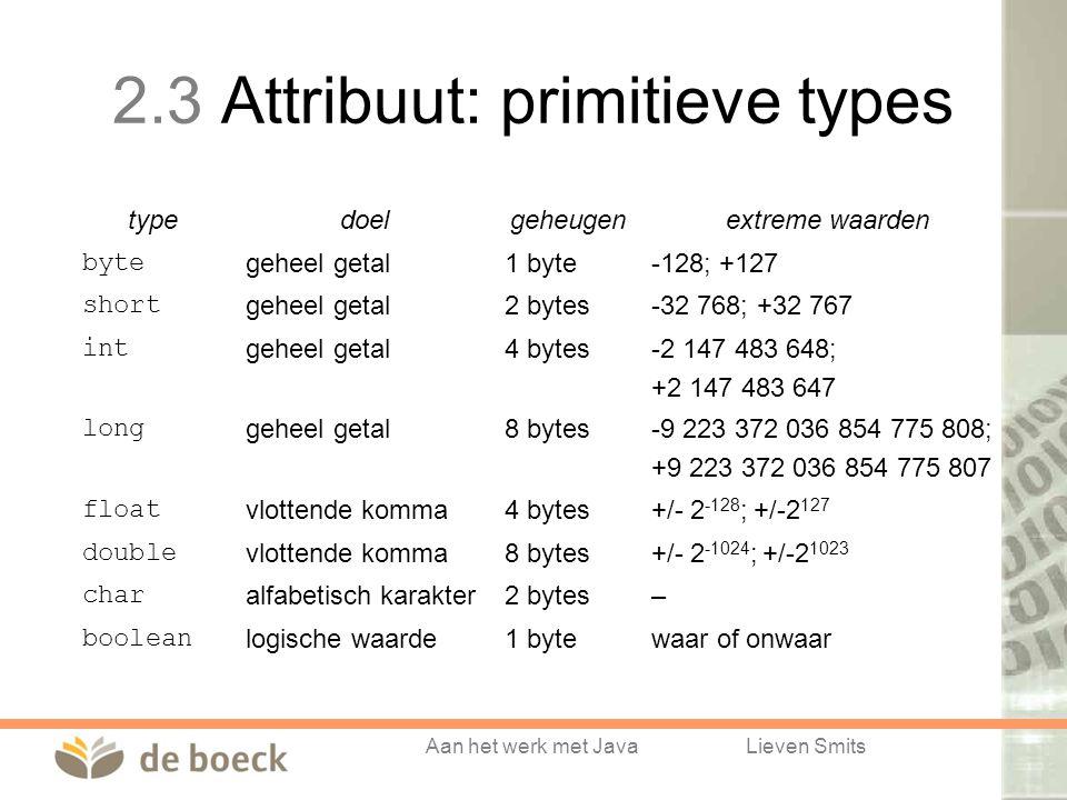 Aan het werk met JavaLieven Smits 2.3 Attribuut: primitieve types typedoelgeheugenextreme waarden bytegeheel getal1 byte-128; +127 shortgeheel getal2 bytes-32 768; +32 767 intgeheel getal4 bytes-2 147 483 648; +2 147 483 647 longgeheel getal8 bytes-9 223 372 036 854 775 808; +9 223 372 036 854 775 807 floatvlottende komma4 bytes+/- 2 -128 ; +/-2 127 doublevlottende komma8 bytes+/- 2 -1024 ; +/-2 1023 charalfabetisch karakter2 bytes– booleanlogische waarde1 bytewaar of onwaar