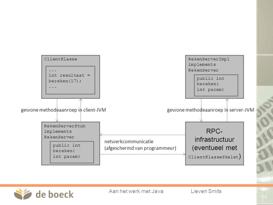 Aan het werk met JavaLieven Smits RekenServerImpl implements RekenServer public int bereken( int param) ClientKlasse... int resultaat = bereken(17);..