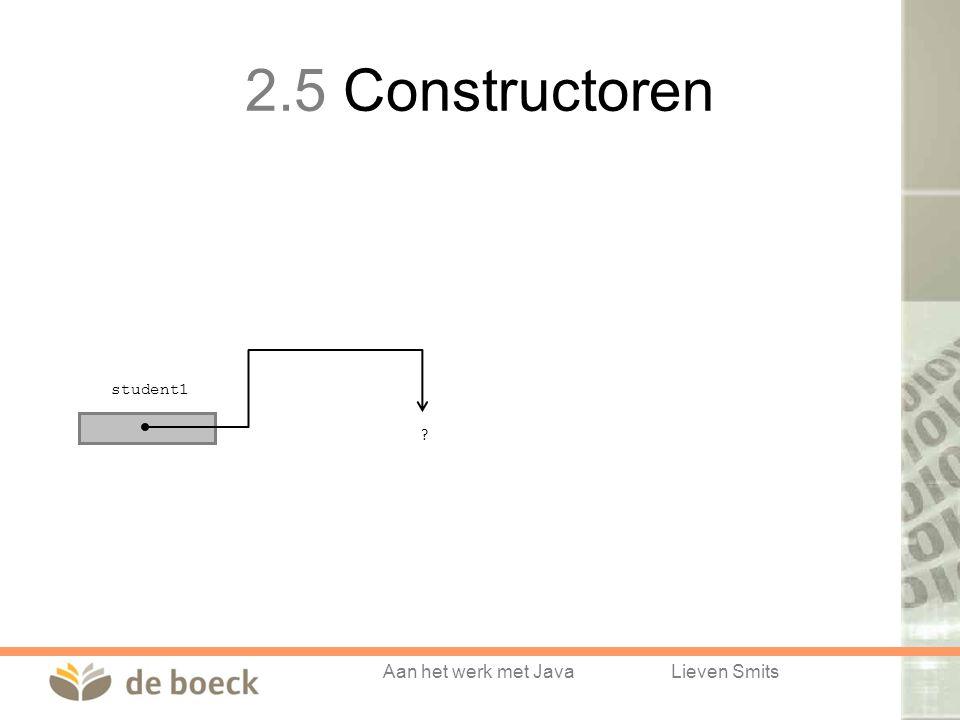 Aan het werk met JavaLieven Smits student1 ? 2.5 Constructoren