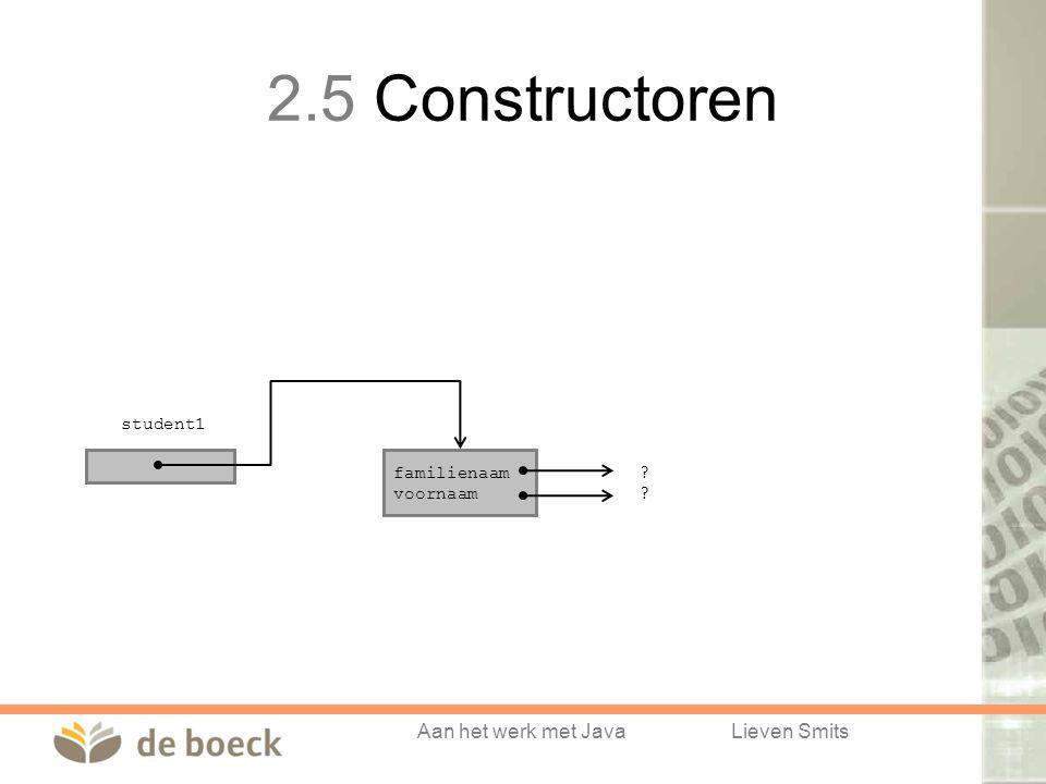 Aan het werk met JavaLieven Smits student1 familienaam voornaam ???? 2.5 Constructoren