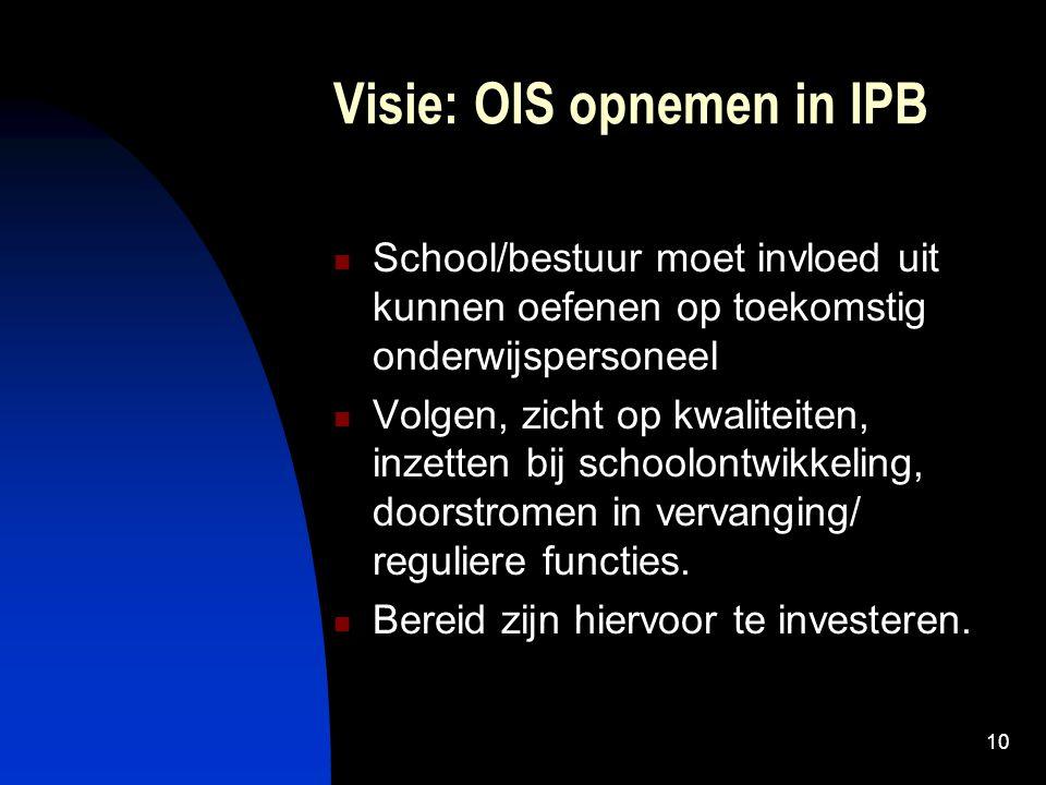 10 Visie: OIS opnemen in IPB School/bestuur moet invloed uit kunnen oefenen op toekomstig onderwijspersoneel Volgen, zicht op kwaliteiten, inzetten bi