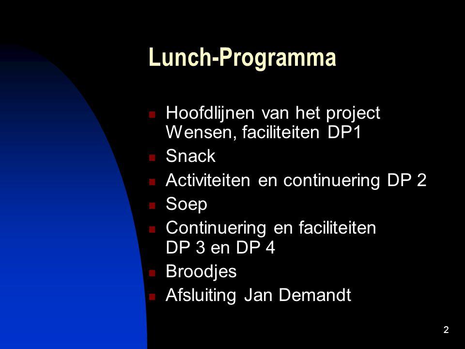 2 Lunch-Programma Hoofdlijnen van het project Wensen, faciliteiten DP1 Snack Activiteiten en continuering DP 2 Soep Continuering en faciliteiten DP 3