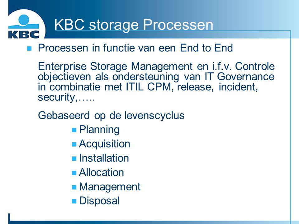 KBC storage Processen Processen in functie van een End to End Enterprise Storage Management en i.f.v. Controle objectieven als ondersteuning van IT Go