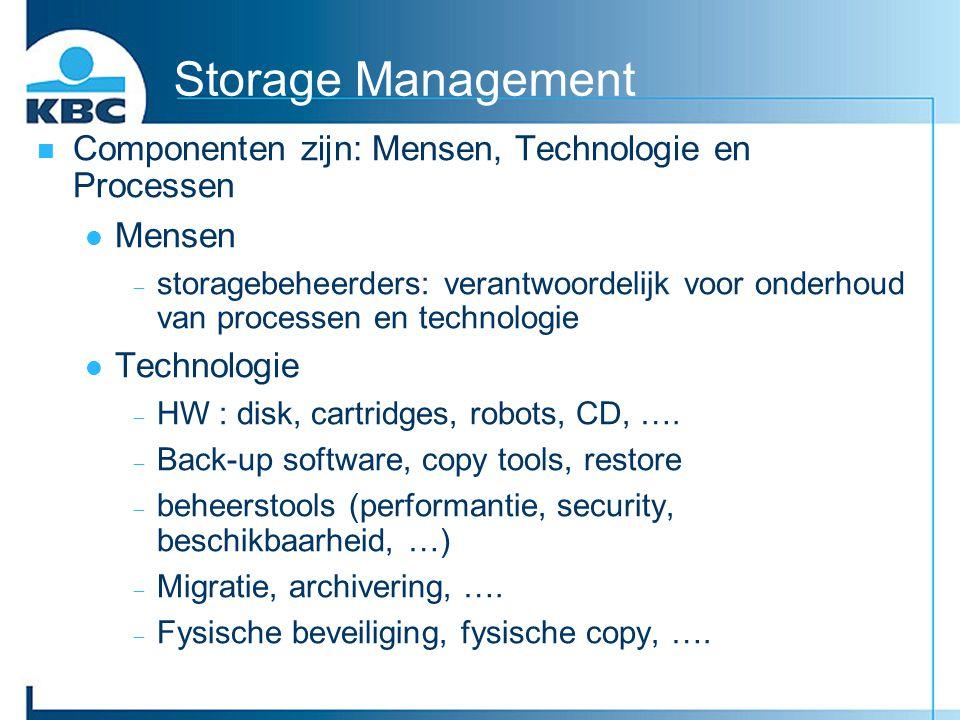 Storage Management Componenten zijn: Mensen, Technologie en Processen Mensen  storagebeheerders: verantwoordelijk voor onderhoud van processen en tec