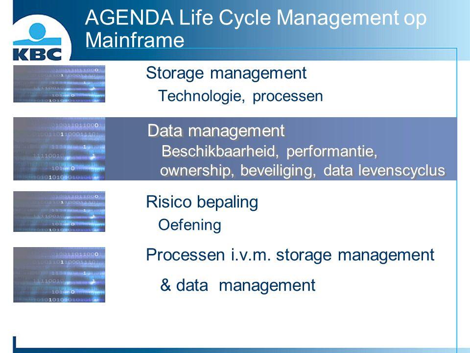 AGENDA Life Cycle Management op Mainframe Storage management Technologie, processen Data management Beschikbaarheid, performantie, ownership, beveilig