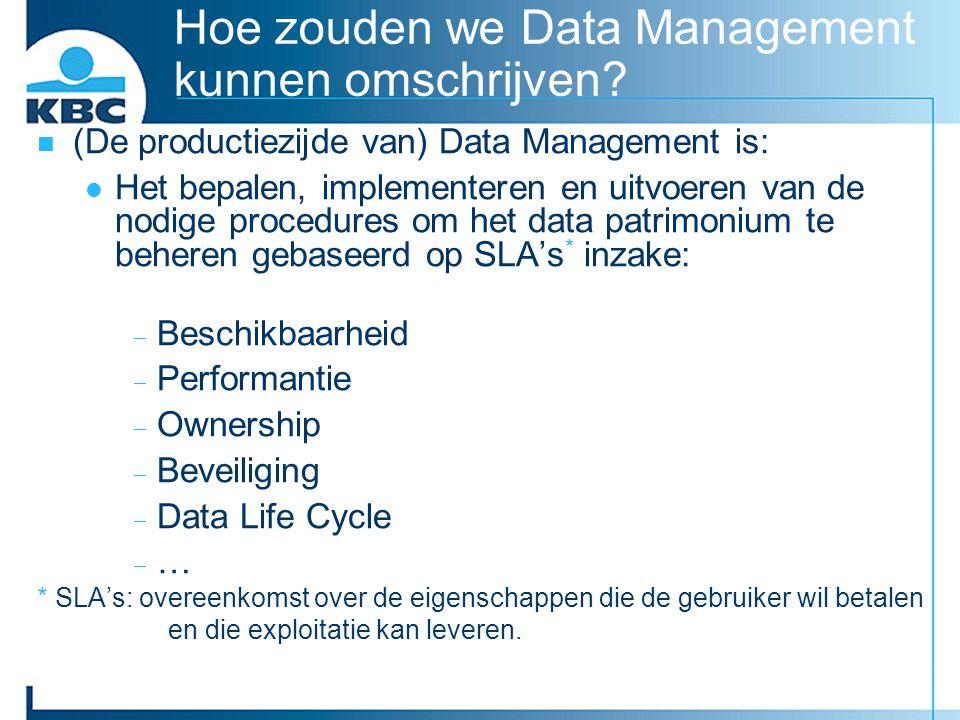 Hoe zouden we Data Management kunnen omschrijven? (De productiezijde van) Data Management is: Het bepalen, implementeren en uitvoeren van de nodige pr
