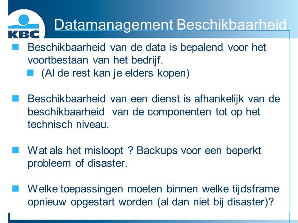nBeschikbaarheid van de data is bepalend voor het voortbestaan van het bedrijf. n(Al de rest kan je elders kopen) nBeschikbaarheid van een dienst is a