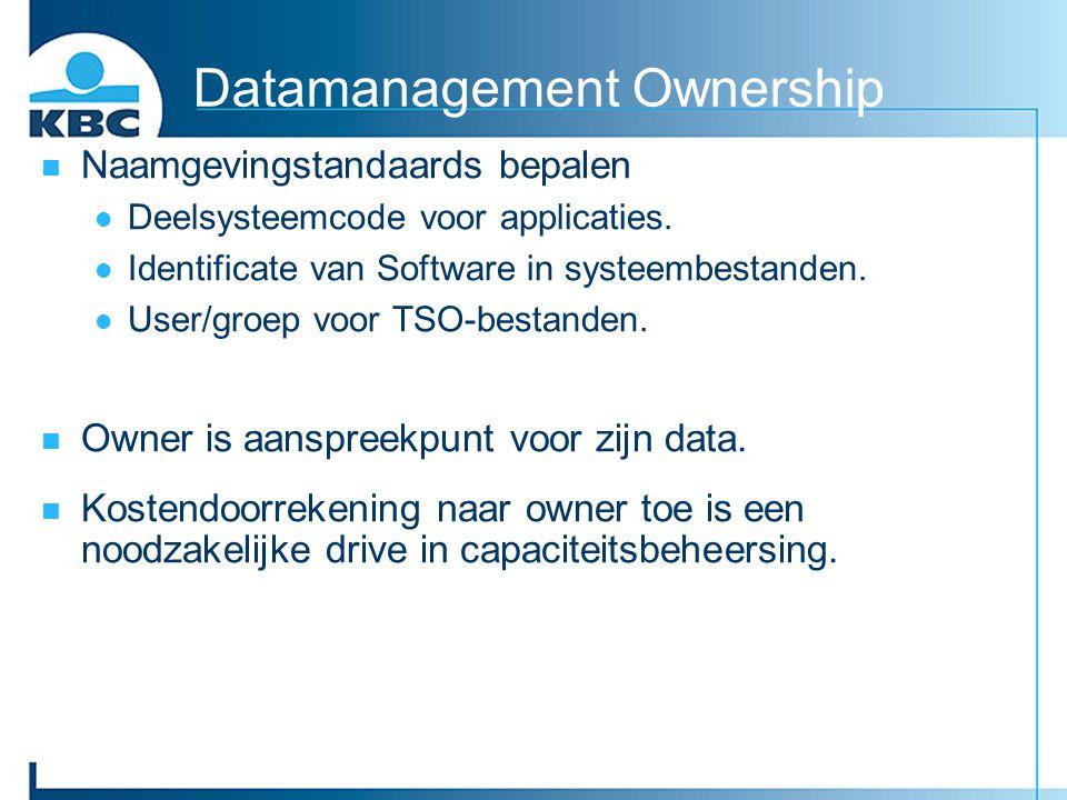 Datamanagement Ownership Naamgevingstandaards bepalen Deelsysteemcode voor applicaties. Identificate van Software in systeembestanden. User/groep voor