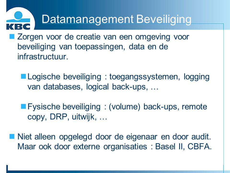 Datamanagement Beveiliging nZorgen voor de creatie van een omgeving voor beveiliging van toepassingen, data en de infrastructuur. nLogische beveiligin