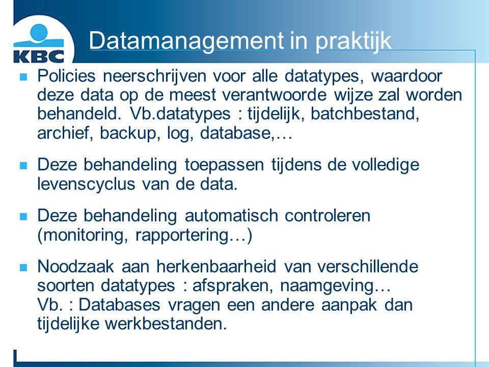 Datamanagement in praktijk Policies neerschrijven voor alle datatypes, waardoor deze data op de meest verantwoorde wijze zal worden behandeld. Vb.data