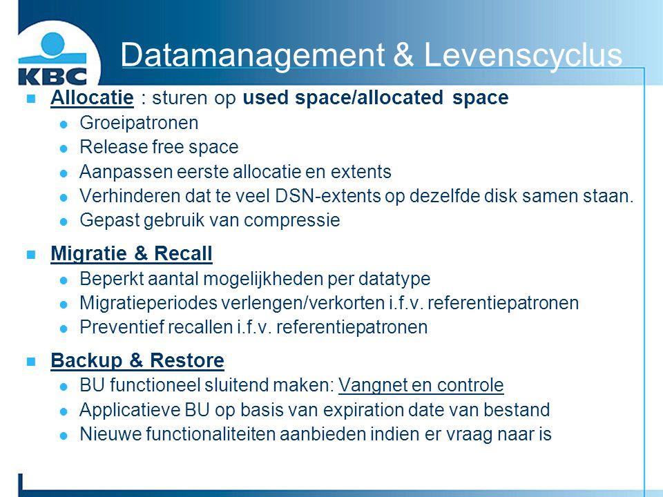 Datamanagement & Levenscyclus Allocatie : sturen op used space/allocated space Groeipatronen Release free space Aanpassen eerste allocatie en extents