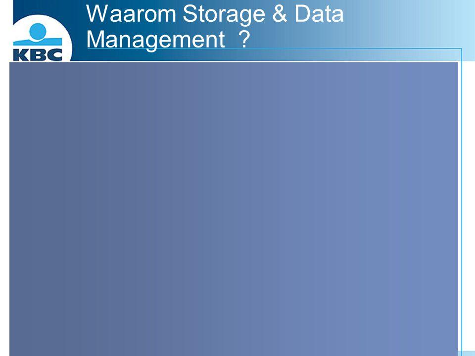 Waarom Storage & Data Management ? Redenen van dataverlies : Diefstal36.7%logische beveiliging backup Virus20.9%Virus scan Opzettelijke fout 8.8% DRP