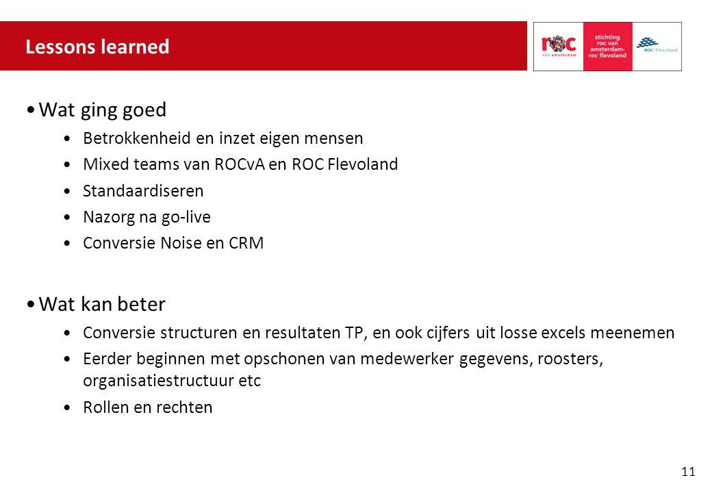 Lessons learned Wat ging goed Betrokkenheid en inzet eigen mensen Mixed teams van ROCvA en ROC Flevoland Standaardiseren Nazorg na go-live Conversie N