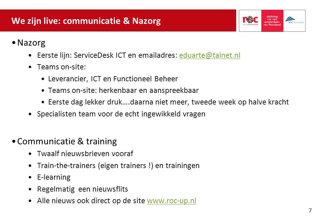 We zijn live: communicatie & Nazorg Nazorg Eerste lijn: ServiceDesk ICT en emailadres: eduarte@talnet.nleduarte@talnet.nl Teams on-site: Leverancier,
