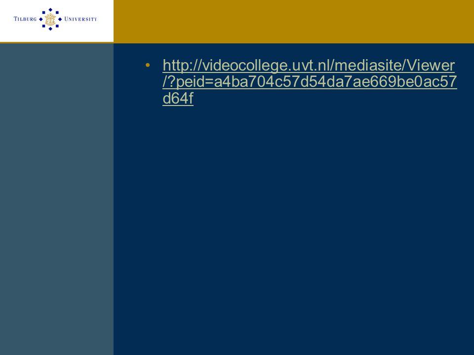 http://videocollege.uvt.nl/mediasite/Viewer / peid=a4ba704c57d54da7ae669be0ac57 d64fhttp://videocollege.uvt.nl/mediasite/Viewer / peid=a4ba704c57d54da7ae669be0ac57 d64f