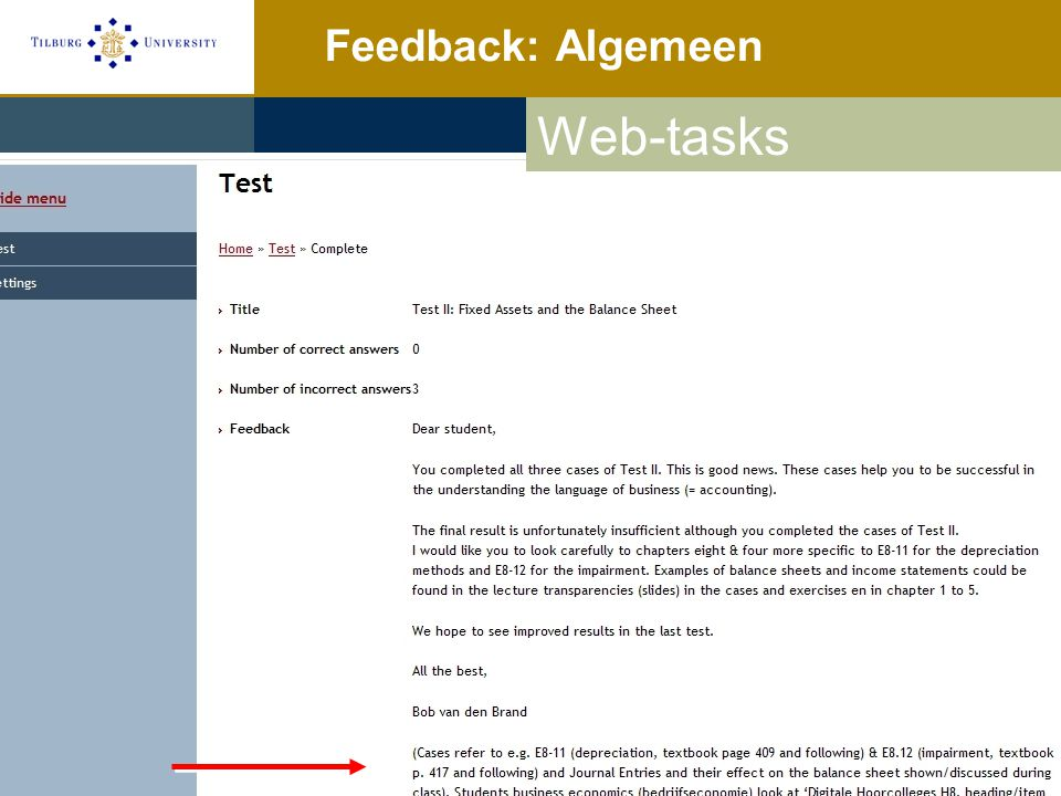Feedback: Algemeen Web-tasks