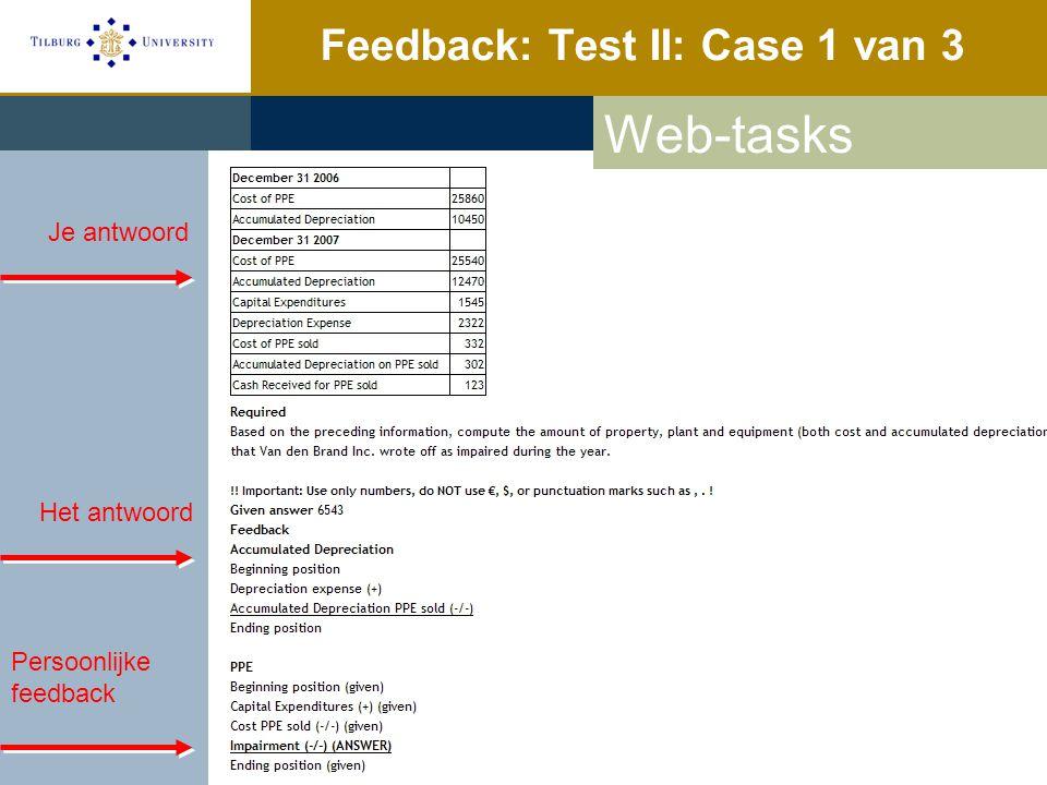 Feedback: Test II: Case 1 van 3 Web-tasks Je antwoord Het antwoord Persoonlijke feedback