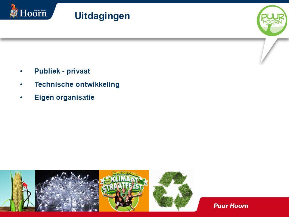 Publiek - privaat Technische ontwikkeling Eigen organisatie Uitdagingen Puur Hoorn