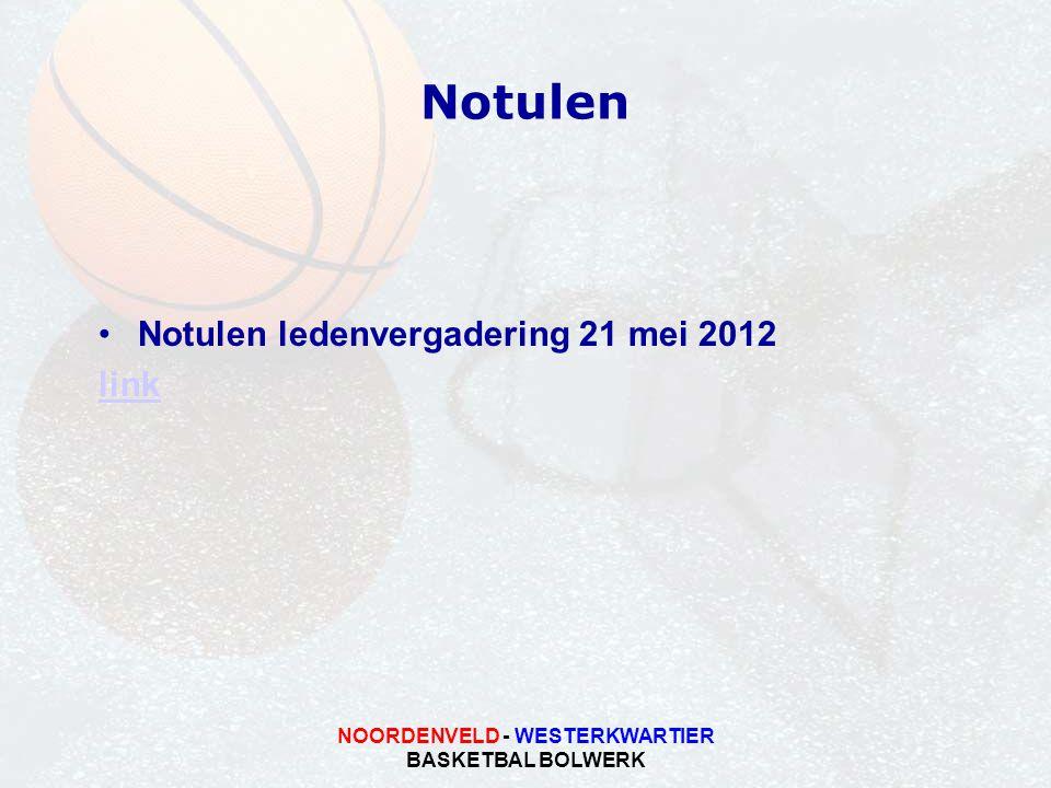 NOORDENVELD - WESTERKWARTIER BASKETBAL BOLWERK Notulen Notulen ledenvergadering 21 mei 2012 link