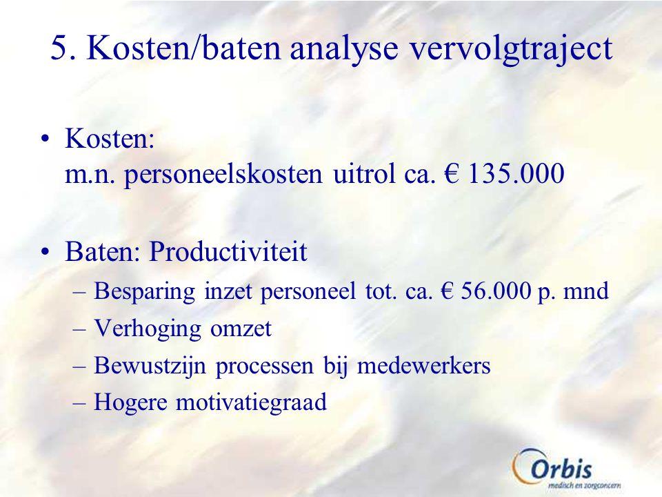 5.Kosten/baten analyse vervolgtraject Kosten: m.n.
