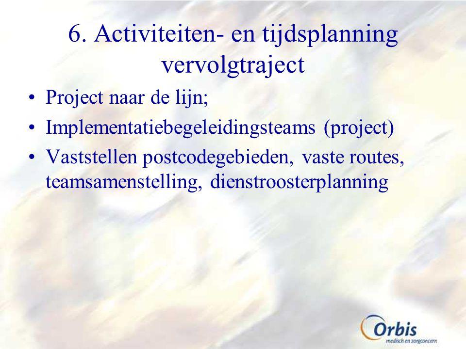 6. Activiteiten- en tijdsplanning vervolgtraject Project naar de lijn; Implementatiebegeleidingsteams (project) Vaststellen postcodegebieden, vaste ro