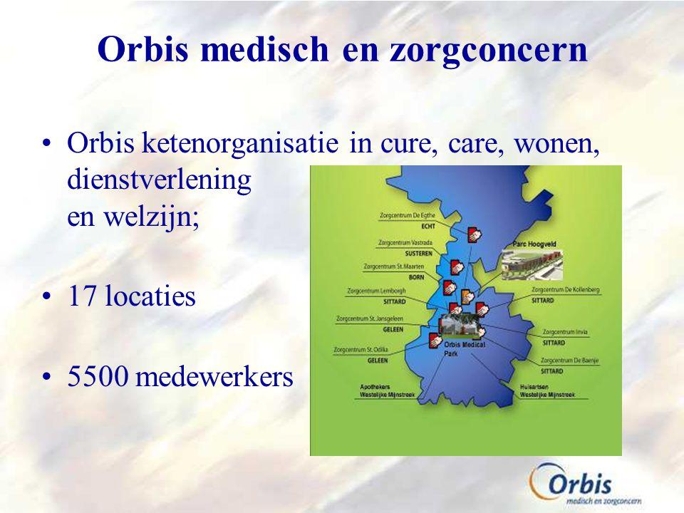Orbis medisch en zorgconcern Orbis ketenorganisatie in cure, care, wonen, dienstverlening en welzijn; 17 locaties 5500 medewerkers