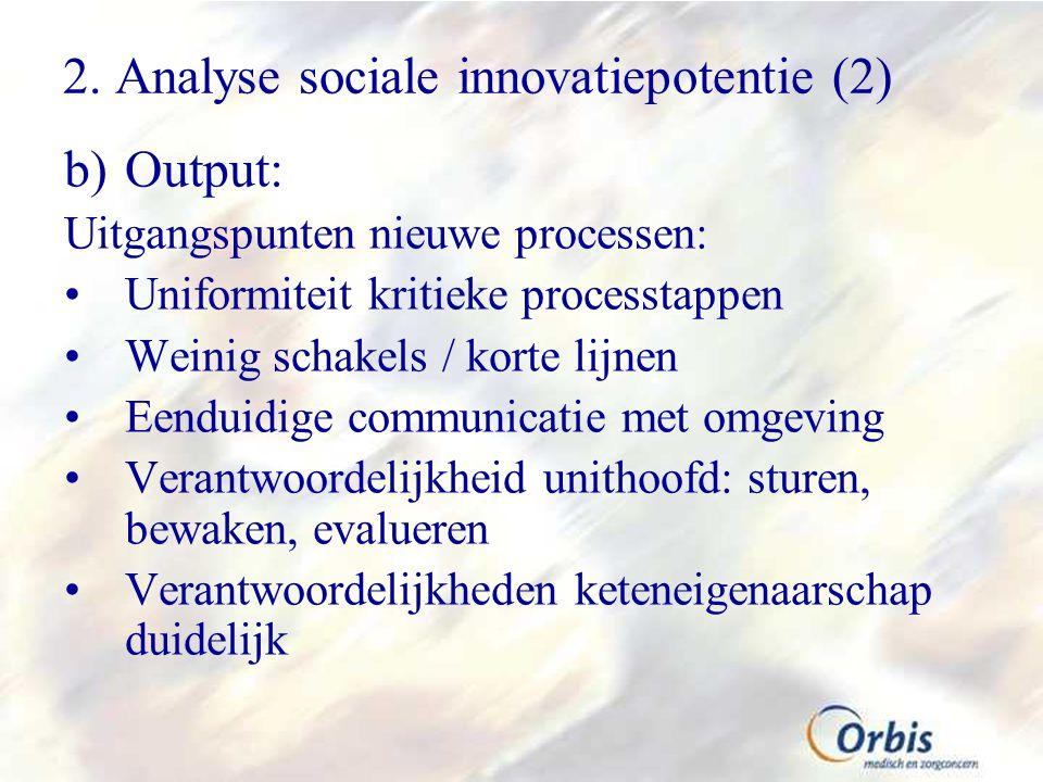2. Analyse sociale innovatiepotentie (2) b)Output: Uitgangspunten nieuwe processen: Uniformiteit kritieke processtappen Weinig schakels / korte lijnen