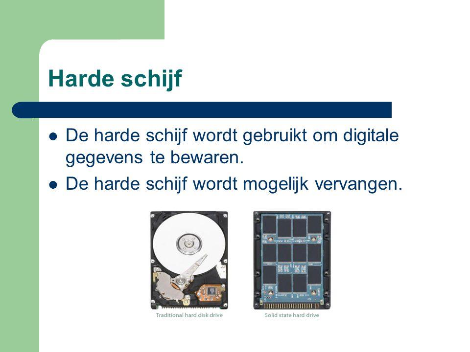 Harde schijf De harde schijf wordt gebruikt om digitale gegevens te bewaren. De harde schijf wordt mogelijk vervangen.