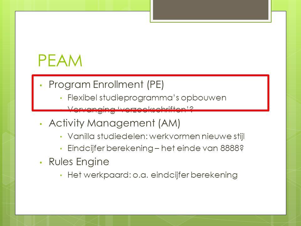 PEAM Program Enrollment (PE) Flexibel studieprogramma's opbouwen Vervanging 'verzoekschriften'.