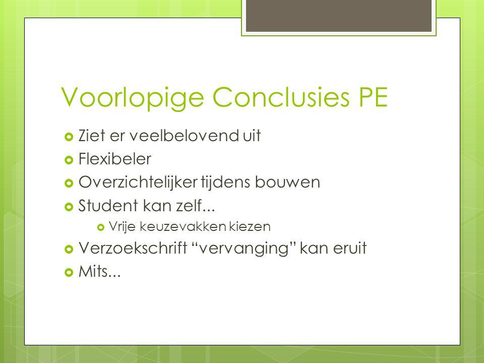 Voorlopige Conclusies PE  Ziet er veelbelovend uit  Flexibeler  Overzichtelijker tijdens bouwen  Student kan zelf...