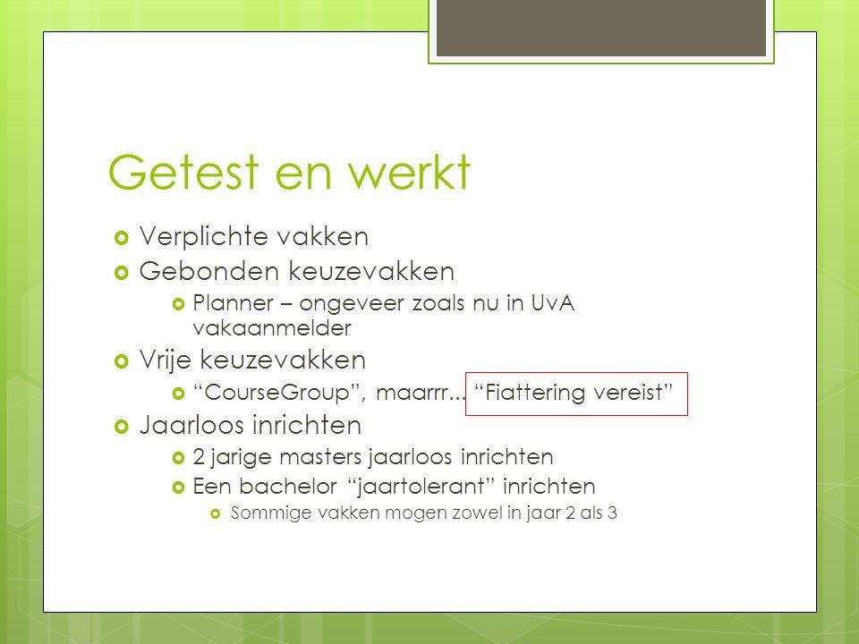 Getest en werkt  Verplichte vakken  Gebonden keuzevakken  Planner – ongeveer zoals nu in UvA vakaanmelder  Vrije keuzevakken  CourseGroup , maarrr...