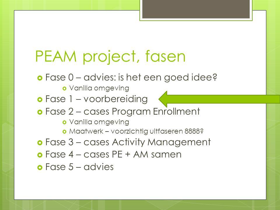 PEAM project, fasen  Fase 0 – advies: is het een goed idee.
