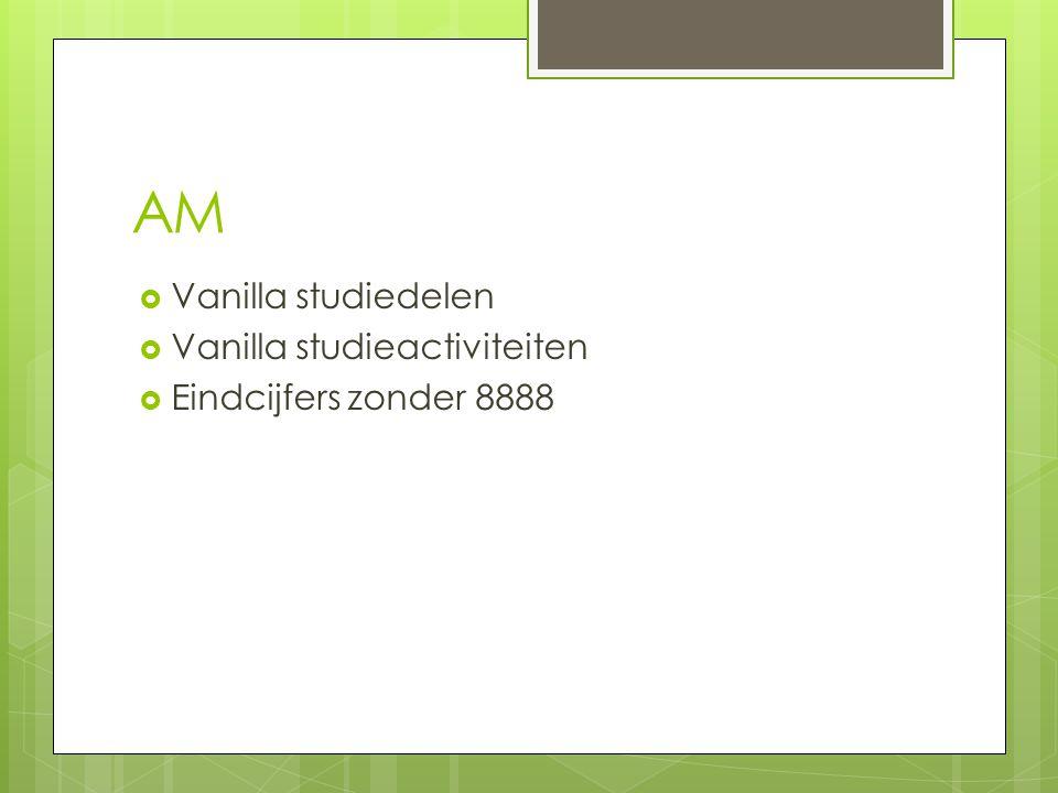 AM  Vanilla studiedelen  Vanilla studieactiviteiten  Eindcijfers zonder 8888