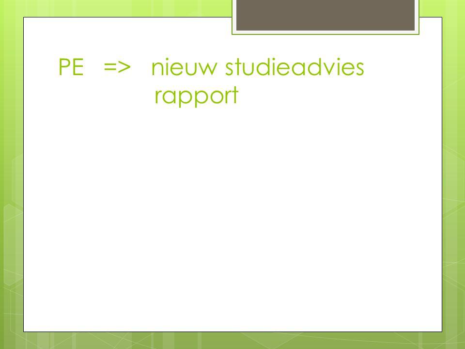 PE => nieuw studieadvies rapport